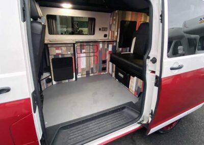 Inside Red VW Campervan