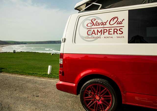 Red VW Campervan end view