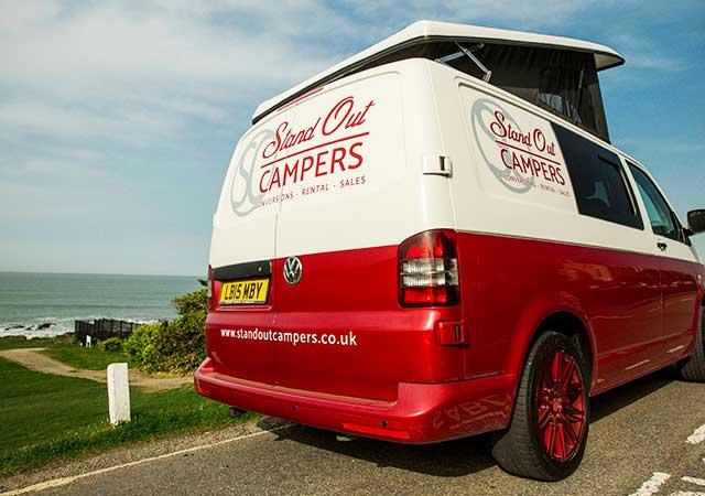 Red VW Campervan rear view
