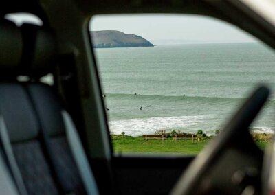 Rolling-Waves through VW Campervan Window