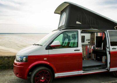 VW Campervan with side door open