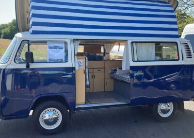 Blue Traditional Campervan Side View