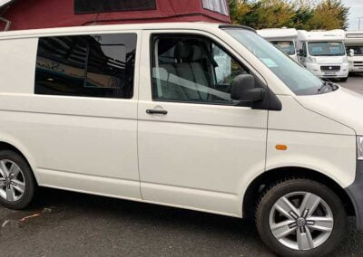 White Campervan with Red PopTop